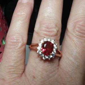 9k rose gold filled garnet and white sapphire ring